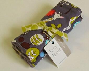 Baby Car Seat Strap Covers - Reversible - Giraffe Garden -  Reverses to Gray Minky Dot