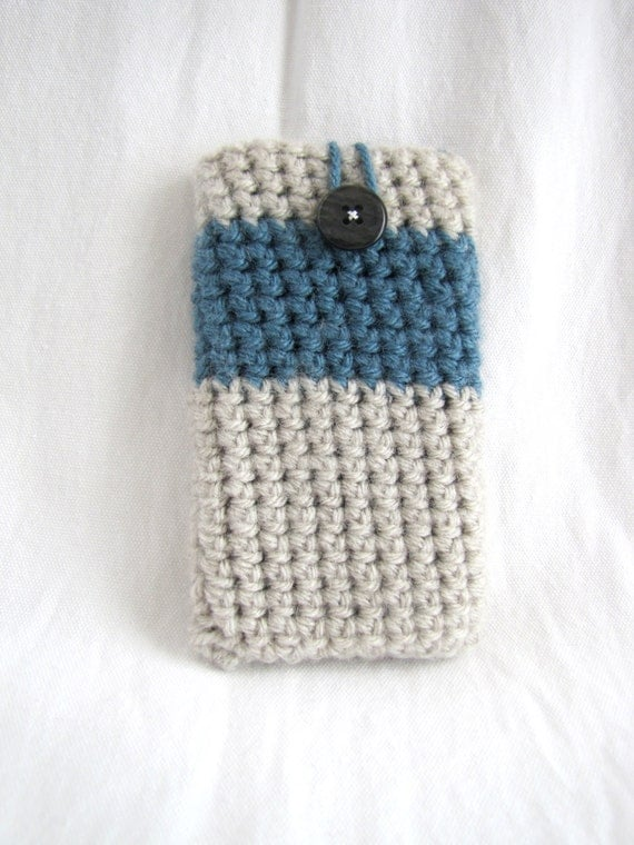 Crochet Cell Phone Case Linen and Dusty Blue