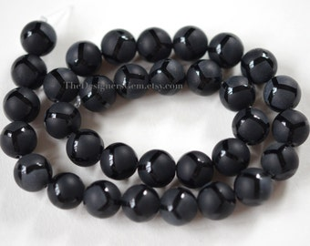 Matte with Polished Outline Black Onyx Smooth Rounds 12mm -1/2 STRAND