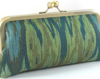 Ikat Clutch Purse - Teal Blue and Green Metal Frame Hnadbag - Boho Bag - Handmade Women's Evening Bag- Bagboy