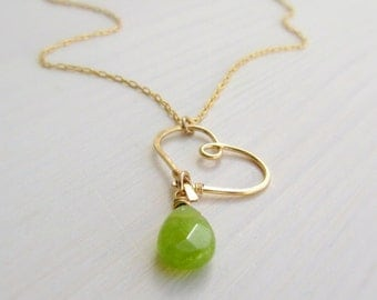Gold heart necklace, Green & gold necklace, Jade gold necklace, Delicate heart necklace, Sweet 16 gift, Green necklace, birthstone necklace