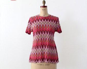 1970s chevron fine knit top, short sleeve blouse