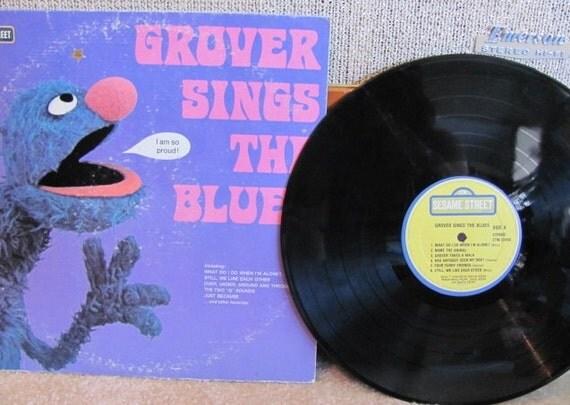 """Vintage Sesame Street's """"Grover Sings the Blues"""" Children's Vinyl Record Album - 1974 - Sing Along"""