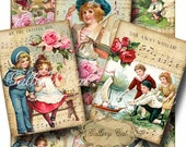 VINTAGE SEASIDE Digital Collage Sheet for Scrapbooking Gift Tags Paper Crafts Printable Roses Beach Music GalleryCat CS221
