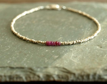 Small Ruby Bracelet, genuine smooth small rubies, African brass beads, sterling silver, minimalist real ruby jewelry, raw gemstones