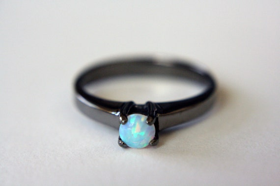 Opal Solitaire Ring in Black Rhodium - opal engagement ring - opal ring - black opal ring - sterling silver opal ring - opal jewelry