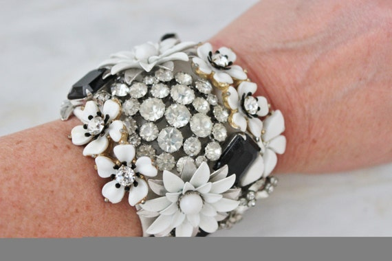 Black White Floral Flower Enamel Bride Wedding Rhinestone Vintage Costume Jewelry Black Tie Bride Cuff Bracelet