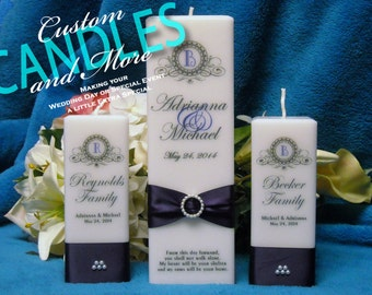 Unity Candle Set Square Personalized with Monogram Style Design