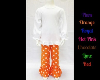 Girls Ruffled Pants - Ruffled Bottom, Polka Dot Ruffle Pants, Polka Dot Pants, Boutique Clothing, Baby Girl, Toddler Girl, Big Girl Clothes