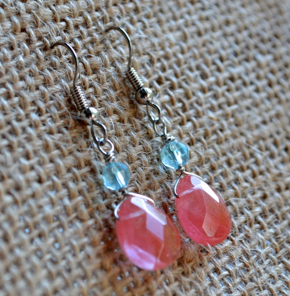 Cherry Quartz Glass Teardrops . Turquoise  Blue Bicone Crystals . Earrings