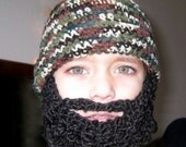 Child Beard Beanie Hat - Camo & Black Beard