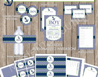 Boy nautical baby shower invitation package, chevron baby shower, lime green, navy, chevron, printable(PARTIAL INSTANT DOWNLOAD) - nautical2