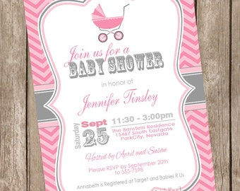 Carriage Girl Baby Shower Invitation, chevron, pink, gray, grey, printable invitation