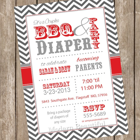 Couples BBQ And Diaper Baby Shower Invitation, Barbecue, Red, Gray, Diaper Invitation, Couple