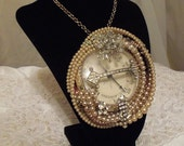 Steampunk Pearl Pendant, Steampunk Formal Necklace, Statement Jewelry by Marelle Couture, RESERVED for Fashion Week