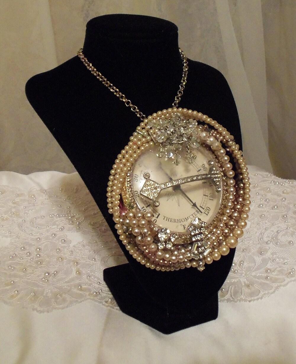steunk pearl pendant steunk formal by hopscotchcouture