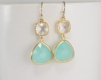 Mint Earrings, Mint Blue Earrings, Clear Earrings, Crystal Earrings, Bridesmaid Earrings, Gold Bridal Jewelry, Bridesmaid Gifts, Wedding