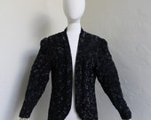 Incredible sequined and beaded chiffon jacket by Nite Line - Size US 10