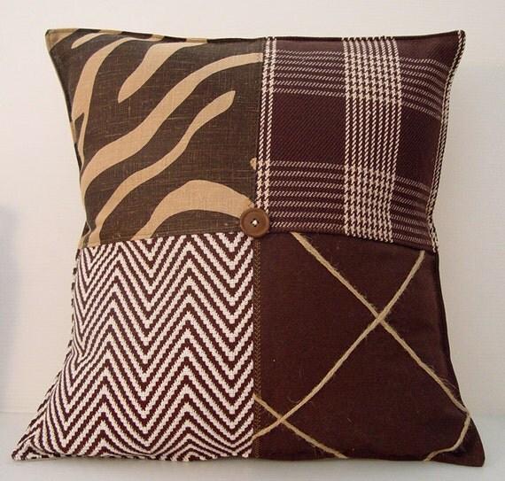 Modern Family Pillow Stripe : Sale-Zebra Brown Stripe Pillow Cushion Masculine Modern