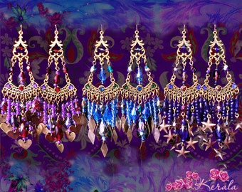 Colorful Bohemian Charm Chandelier Earrings, Purple, Aqua, Blue, Crystal Earrings, Stars, Hearts, Diamonds, Gypsy Soul, Colors Options!