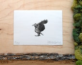 Crow Skeleton - Crow Print - Crow Bones - Crow Anatomy - Animal Skeleton Etching - Skull Bones - Intaglio Etching - Hand-Pulled Print 5x7