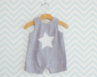 Baby Boy Salopette, Newborn Romper, Silk Bodysuit for little boy, Silk Romper suit for infant, Little Star Baby Romper
