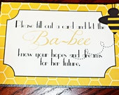 PRINTABLE Bumble Bee, Honey Bee Wishes/Advice Sign