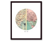 Unique Engagement Gift, Personalized Map, Anniversary Gift, for Couples, Vintage Map Print