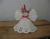 White Paper Doily Angel Ornament Christmas Angel Decoration Red White Angel Ornament SnowNoseCrafts