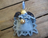 Rustic Blue Angel Ornament, Battenburg Lace Doily Angel, Christmas Tree Ornament, Holiday Angel, Angel Collector, Tree Decor SnowNoseCrafts