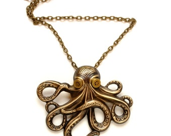 Steampunk Necklace Steampunk Jewelry Octopus Kraken Cthulhu Necklace Steampunk Goggles Steam Punk Jewelry By Victorian Curiosities