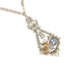 PALE BLUE Steampunk Necklace, SILVER Blue Steampunk Watch Necklace, Steampunk Wedding, Victorian Steampunk Jewelry VictorianCuriosities