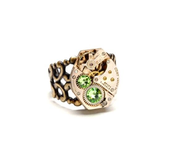 PERIDOT Steampunk Ring Steampunk Vintage Watch Ring August Light Green Antique Brass Steam Punk Steampunk Jewelry By Victorian Curiosities