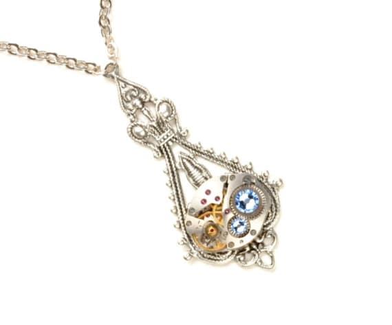 PALE BLUE Steampunk Necklace SILVER Steampunk Jewelry Steampunk Wedding Vintage Style Jewelry Steam Punk Wedding Victorian Steampunk Jewelry