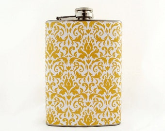 Yellow Flask for Women, Wedding Flask, Bridesmaid Flask, Party Flask, 6 oz Liquor Hip Flask