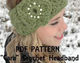 Cara Crochet Headband Pattern for chunky Headband Headwrap Earwarmer and Flower