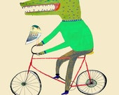 Croc and Owl on Bike. Limited edition art print of only (100). Illustration print - kids decor - childrens wall art. Make Your Wall Cool.