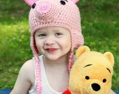 Little Piglet Earflap Hat >> Hand Crocheted >> Unique Costume >> Dress Up >> Photo Prop
