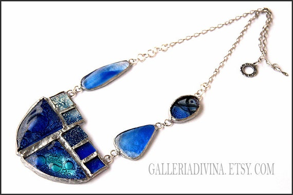 RESERVED - Art necklace - Wearable art - Statement necklace - Stained glass jewelry - Fused glass - Blue - Sea - Midnight blue OOAK