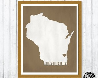 Milwaukee Love Wisconsin Textured Two-Color Print (8x10)
