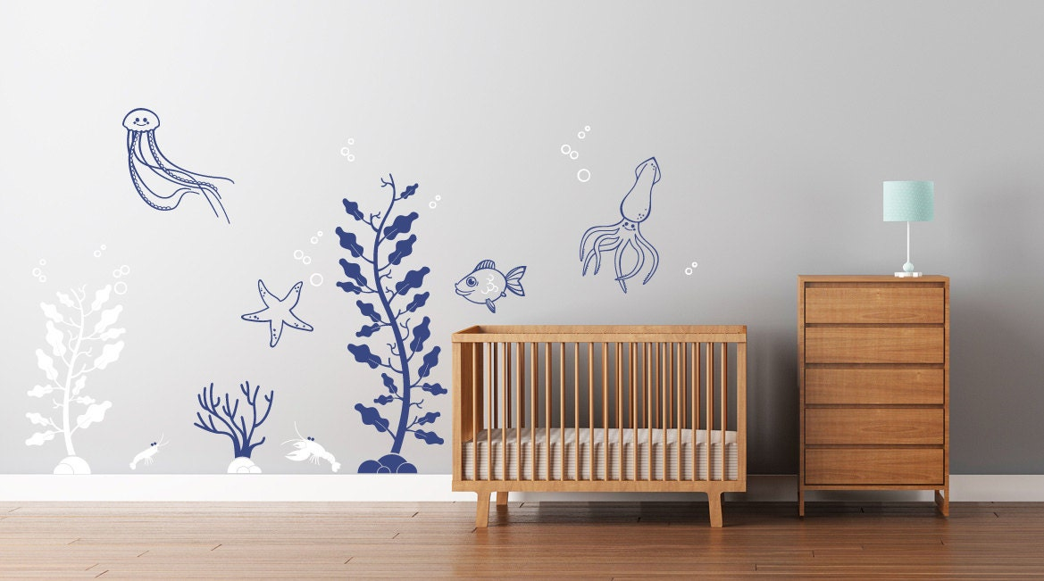 zoom. Deep Sea Wall Decals for Baby Nursery  Underwater themed