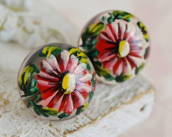 Vintage Hand-Painted Floral Screw Back Earrings