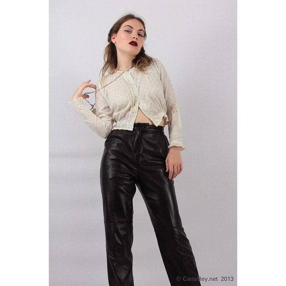 Vintage Leather Pants 80 S High Waisted Black Leather