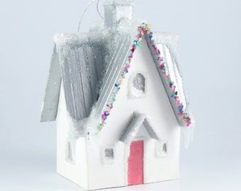 Christmas village glitter house ornament - Ohio farmhouse