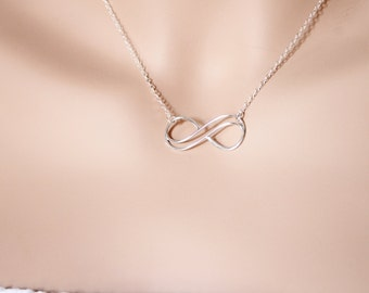 Infinity Pendant, Double Infinity Necklace, Wedding Jewelry, Birthday Gift, Wife Gift, Sterling Silver, Infinity Gift, BeadXS, Dainty