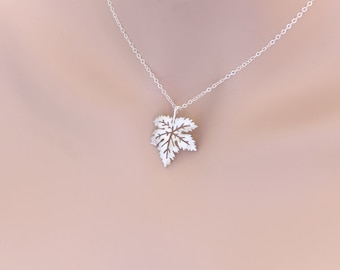 Maple Leaf Necklace Silver Wedding, Graduation, Anniversary, Best Friend