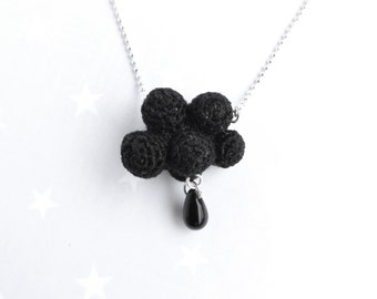 Winter Black cloud and raindrop. Crochet cloud Necklace