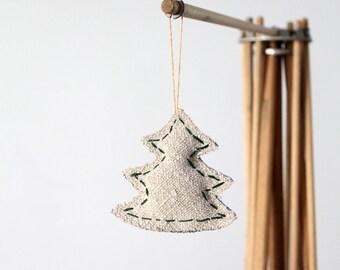 Evergreen Tree Ornament, holiday ornament, homespun linen and denim