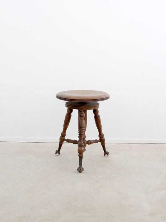 Antique Piano Stool Victorian Claw Foot Stool