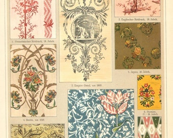 1905 Weaving, Cotton Printing II. French, Japanese, English Patterns Original Antique Chromolithograph